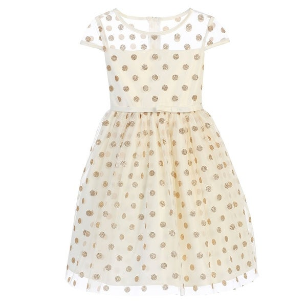 3bf05fb7b989 Shop Sweet Kids Little Girls Ivory Gold Polka Dotted Overlay Occasion Dress  2-6 - Free Shipping Today - Overstock - 18173865