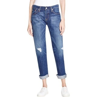 Levi's Womens Tapered Leg Jeans Destroyed Button Fly