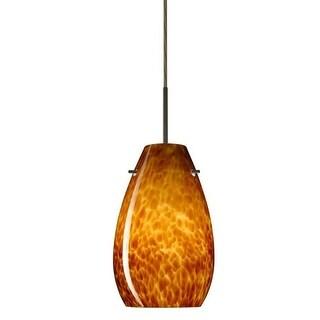 Besa Lighting 1JT-412618 Pera 1 Light Cord-Hung Mini Pendant with Amber Cloud Glass Shade