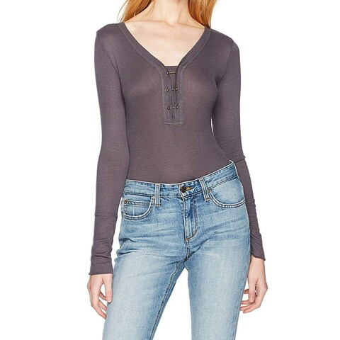 William Rast Gray Womens Size Small S Long Sleeve Bodysuit Top