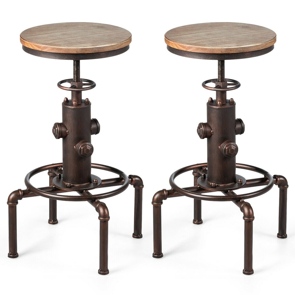 Gymax Set of 2 Industrial Bar Stool Solid Wood Water Pipe Fire Hydrant Design Barstool - as pic