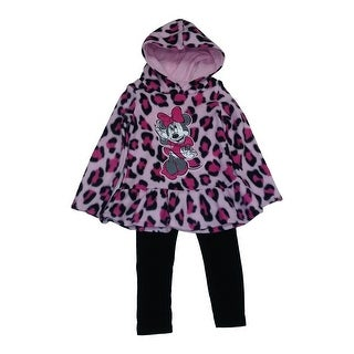 Little Girls Pink Cheetah Print Minnie Mouse Hooded Top 2 Pc Pant Set 2T-6X