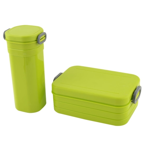 Unique Bargains Covered Olive Green Lunch Box Foot Meat Container Water Cup Bottle Set