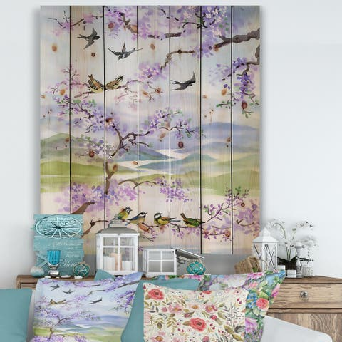 Designart 'Birds On Cherry Branch' Traditional Print on Natural Pine Wood