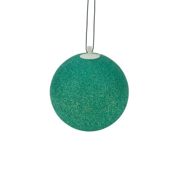 "7"" Green Lighted Twinkling Shimmering Sphere Patio Christmas Decoration"