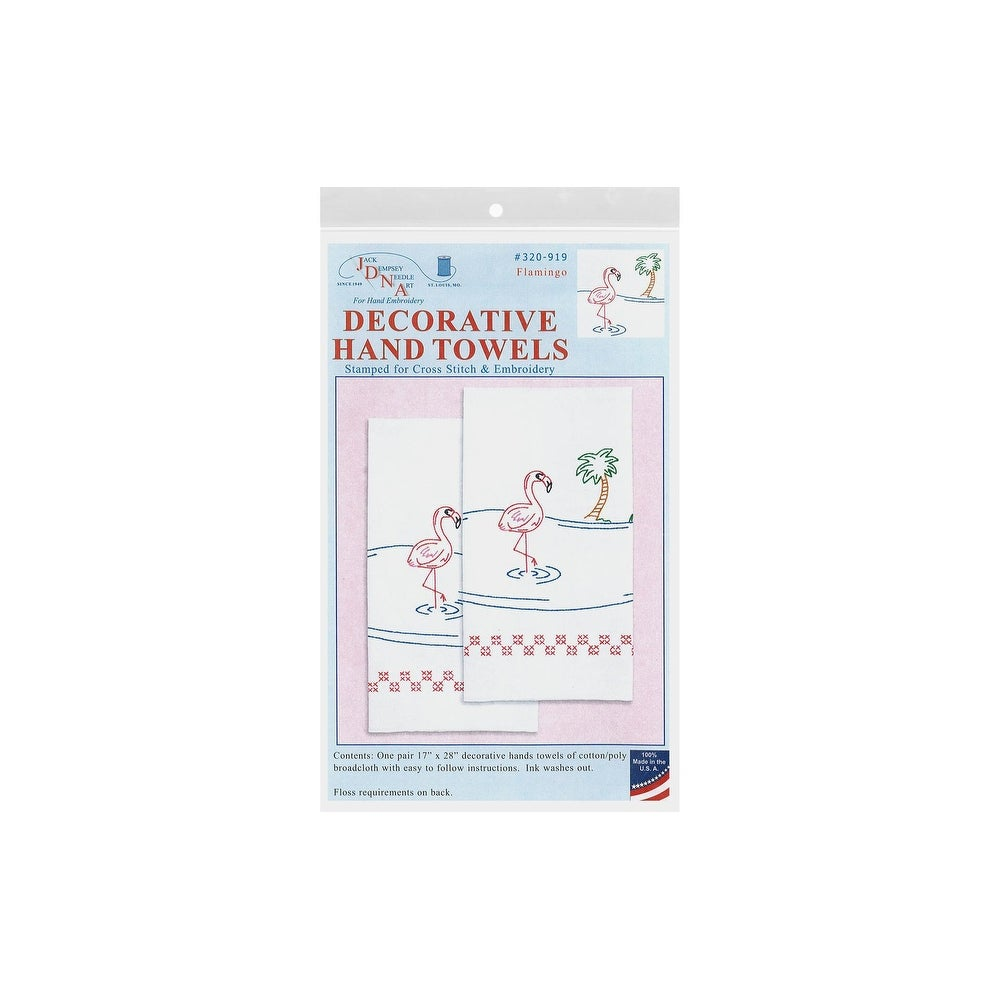 Jack Dempsey Needle Art 320919 Flamingo Hand Embroidery White