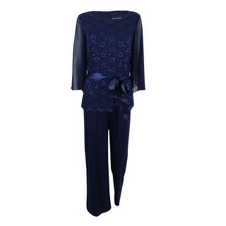 Connected Women's Sequined Wide-Leg Jumpsuit - navy
