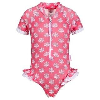 Sun Emporium Baby Girls Coral Indian Damask Print Frill Swimsuit