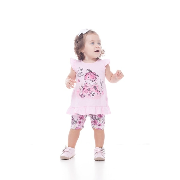 Pulla Bulla Baby Girls' Outfit Kitty Graphic T-Shirt and Shorts Set