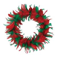 Pack of 6 Red and Green Christmas Decorative Party Feather Wreath 8""