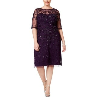 Adrianna Papell Womens Plus Cocktail Dress Embellished Elbow Sleeves