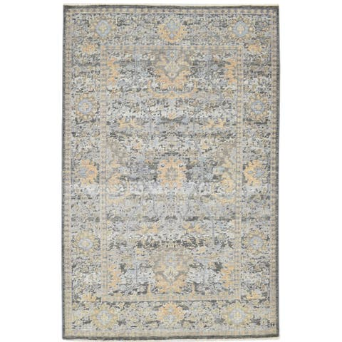 """One of a Kind Hand-Knotted Americana 5' x 8' Oriental Wool Grey Rug - 4'11""""x8'0"""""""