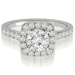 1.02 CT.TW Single Halo Round Cut Diamond Engagement Ring in 14KT Gold - White H-I