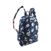 Red White and Blue Whale Print Cotton Canvas Backpack