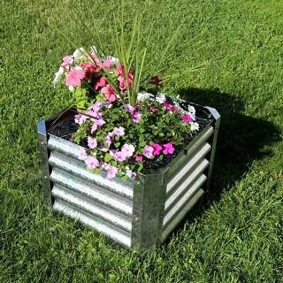 Sunnydaze Galvanized Steel Raised Garden Bed - 22-Inch Square - 16-Inch Deep