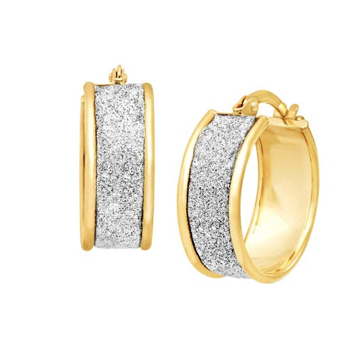 Glitter Hoop Earrings in 14K Gold-Bonded Sterling Silver - Yellow