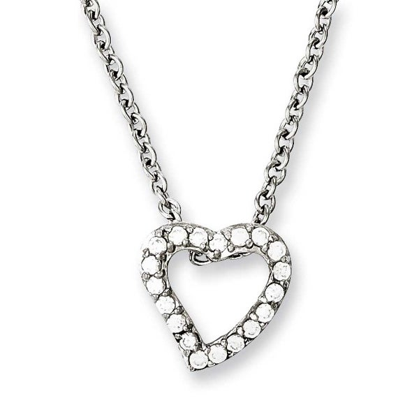 Chisel Stainless Steel CZ Heart Pendant 18in Necklace (2.3 mm) - 18 in