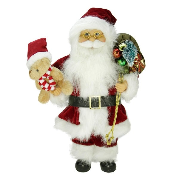 """16"""" Traditional Standing Santa Claus Christmas Figure with Teddy Bear and Gift Bag - WHITE"""
