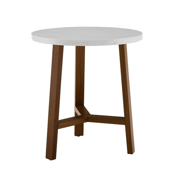 "Delacora WE-BDF20EMST Solna 20"" Diameter Marble Top Laminate and Wood Accent Table"