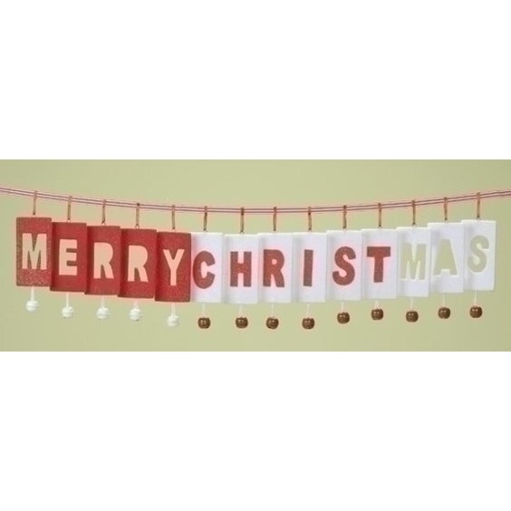36' Inspirational Merry-Christ-Mas Jingle Bell Christmas Garland - RED