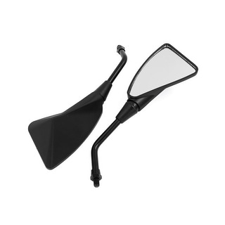 Unique Bargains 2Pcs 10mm Thread Black Plastic Frame Triangular Motorcycle Rear View Mirrors