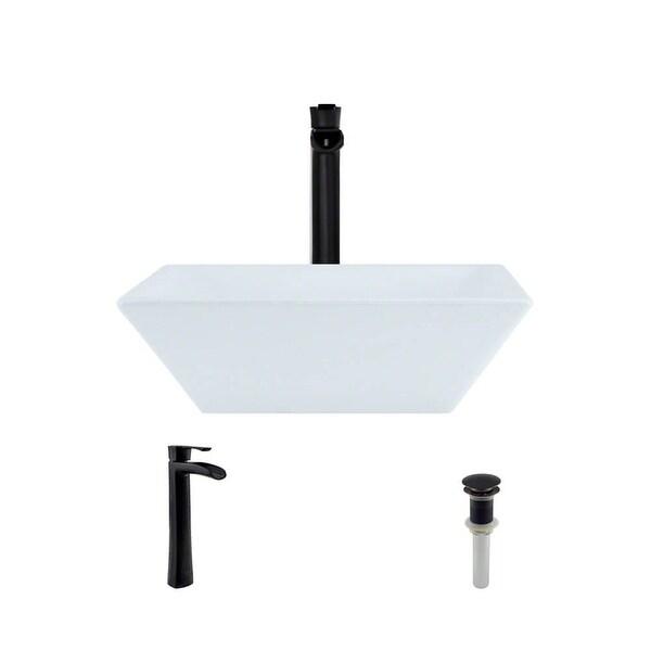 "Rene R2-5010-W-R9-7007 15-3/4"" Porcelain Vessel Bathroom Sink with Vessel Faucet and Vessel Pop-Up Drain"