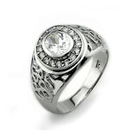 Sterling Silver Men's Ring w/ CZ