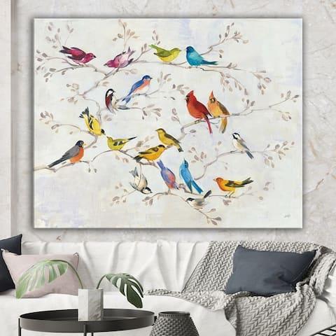 Designart 'Multicolor Birds on Tree' Modern Farmhouse Canvas Art - Multi-color