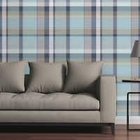 "Great Big Canvas Removable Wallpaper Tile - Madras Plaid in Blue and Gray - 24"" x 48"""