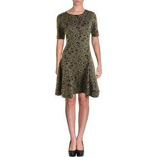 Vince Camuto Womens Knit Metallic Wear to Work Dress