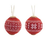 Pack of 6 Red and White Shatterproof Knit Sweater Christmas Ball Ornaments 4""