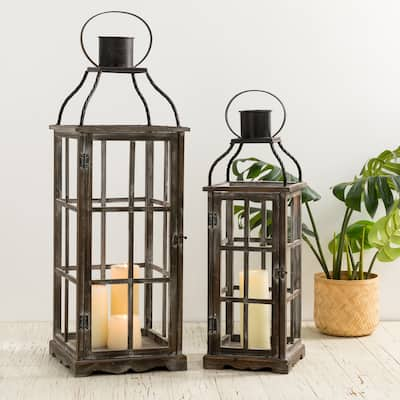 Glitzhome Oversized Farmhouse Wooden Metal Lantern (Set of 2)