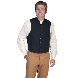 Scully Old West Vest Mens Button Stand Up Collar Cotton Canvas