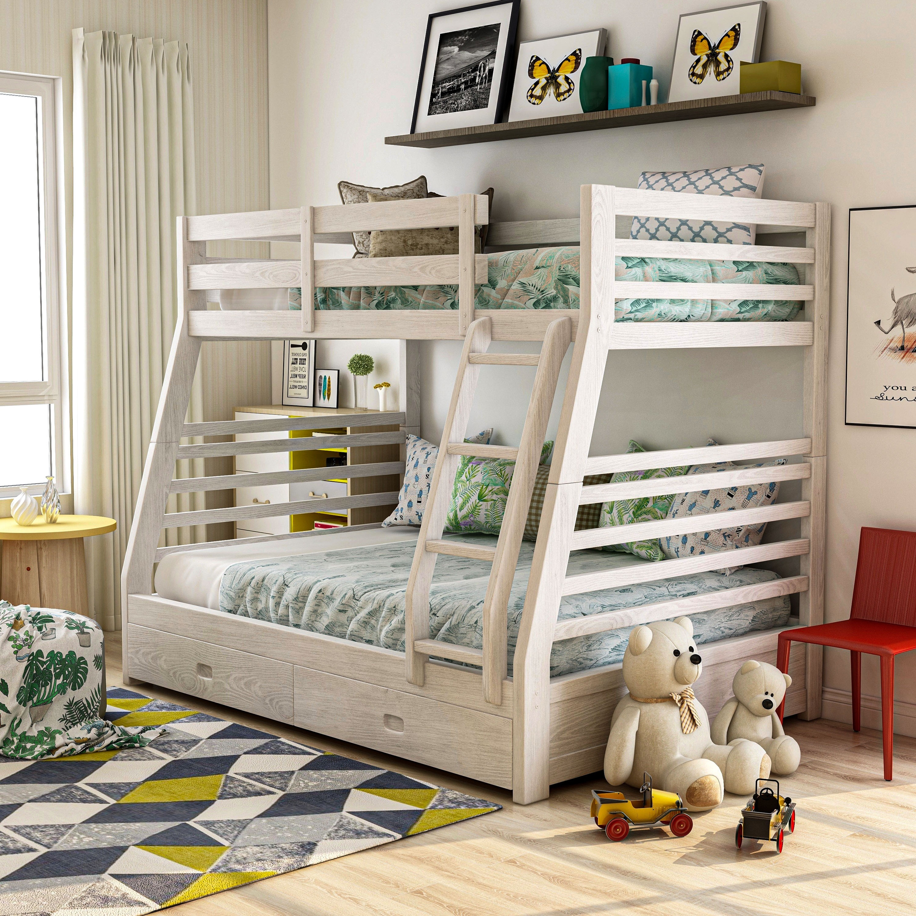 Picture of: Furniture Of America Cude Modern Twin Full Solid Wood Bunk Bed Set Overstock 6825179