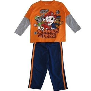 Nickelodeon Little Boys Orange Navy Paw Patrol Long Sleeve 2 Pc Pant Set