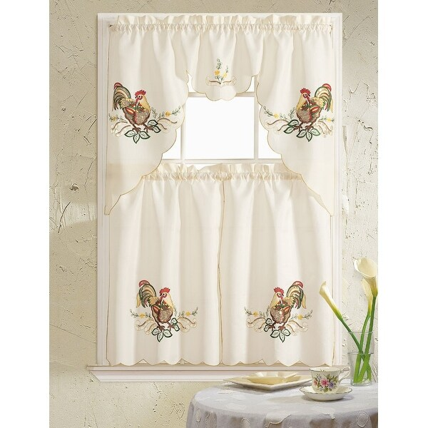 Rooster Embroidered 3-Piece Kitchen Curtain Swag & Tiers Set, Beige, 60x56 & 30x36 - N/A