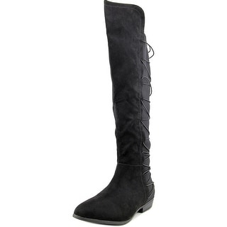 Material Girl Cayln Women Pointed Toe Canvas Black Over the Knee Boot