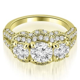 2.00 cttw. 14K Yellow Gold Milgrain 3-Stone Round Cut Diamond Engagement Ring