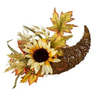 "Link to 12"" Fall Harvest Sunflower and Pumpkin Cornucopia Decoration Similar Items in Thanksgiving Decorations"