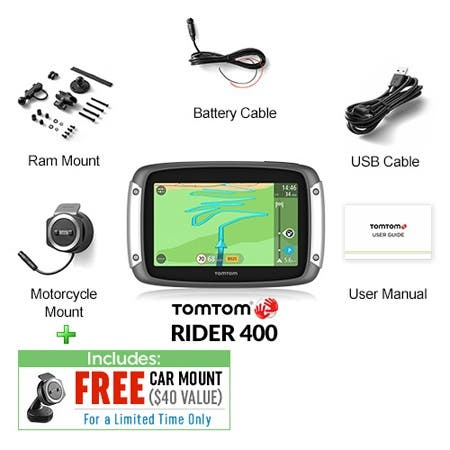 Shop TomTom Rider 400 4 3-inch Motorcycle GPS w/ Free