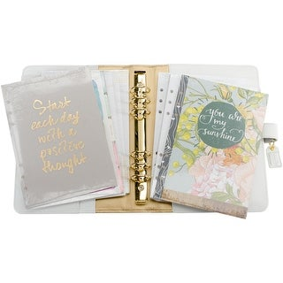 "Color Crush A5 Faux Leather Planner Kit 7.5""X10""-White"