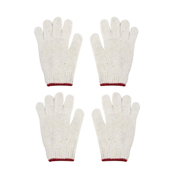 Unique Bargains 4 Pcs Carpenter Off White Red Elastic Cuff Cotton Yarn Working Gloves