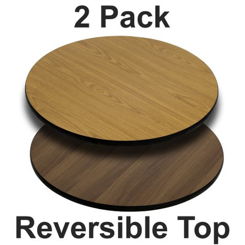 "2PK 36"" Round Table Top with Natural or Walnut Reversible Laminate Top"