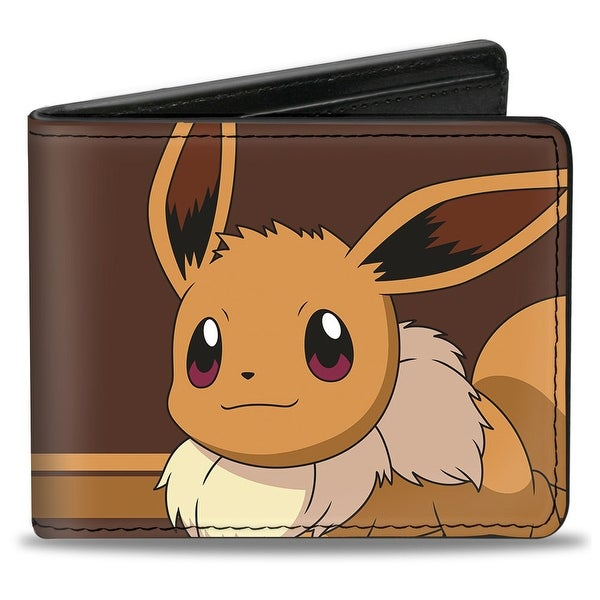 Eevee Face Close Up + Eevee Stripe Browns Bi Fold Wallet - One Size Fits most