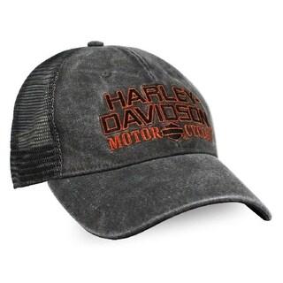 Harley-Davidson Men's Embroidered H-D Baseball Cap, Distressed Charcoal BCC51681