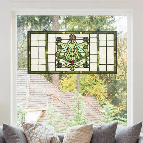 """River of Goods 26""""W Vintage Victorian Stained Glass Window Panel - 26"""" x 0.5"""" x 13.75"""""""