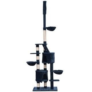 """vidaXL Cat Tree Cuddles XL 90"""" - 102"""" Dark Blue Plush"""