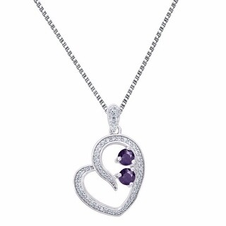 0.25 Ct Forever Us Heart Pendant Cubic Zirconia Purple 2 Solitaire Stone 925 Siver