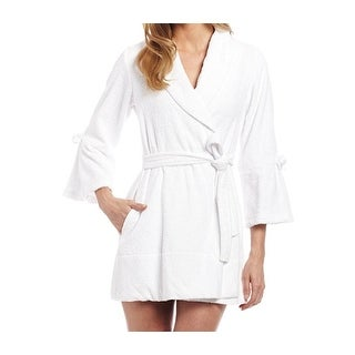 """Betsey Johnson NEW White Womens Size Medium M Embroidered """"Mrs."""" Robes"""