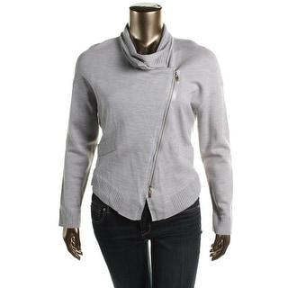 Escada Womens Virgin Wool Metallic Full Zip Sweater - XL
